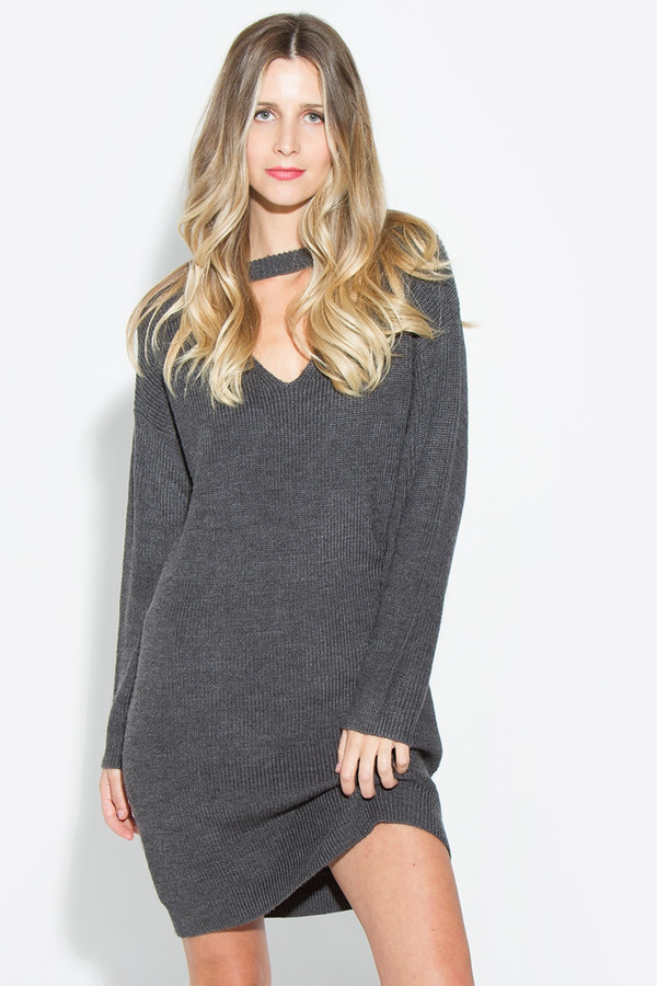 SUZETTE SWEATER DRESS CHARCOAL