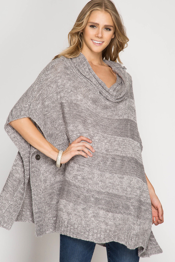 TURTLE NECK PONCHO STYLE SWEATER