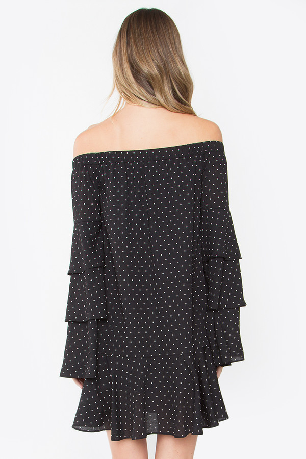 BURST INTO TIERS OFF THE SHOULDER DRESS