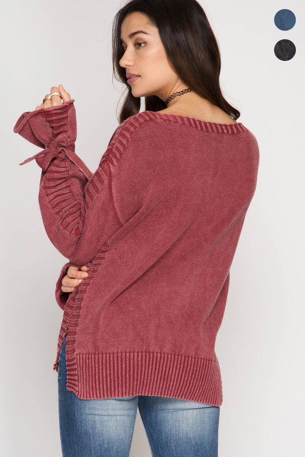 LONG SLEEVE PULLOVER SWEATER WITH STONE WASH (PRE-ORDER)