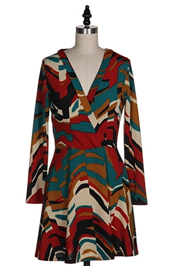 Printed Brushed Knit Wrap Dress Out Of My Kloset