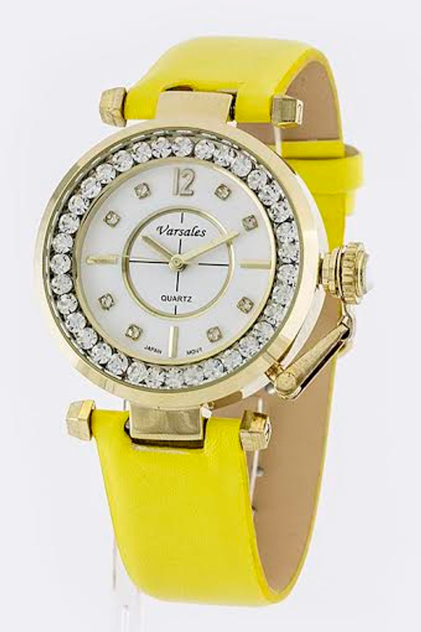 CRYSTAL CASE STRAP WATCH YELLOW