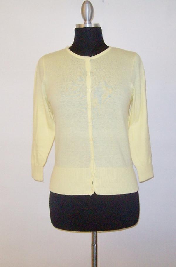 Round Neck Cardigan Sweater Pastel Yellow