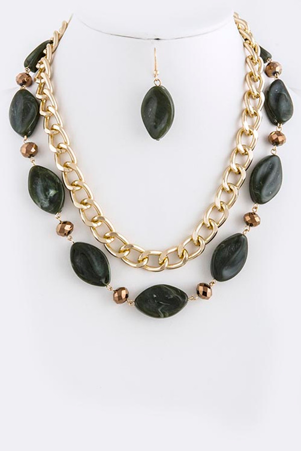 ACRYLIC OVAL STONE AND CHAIN NECKLACE SET