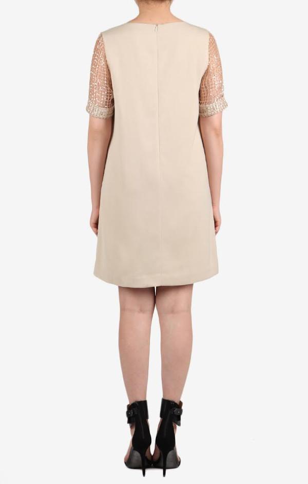 Holiday Sequin Shift Dress Beige