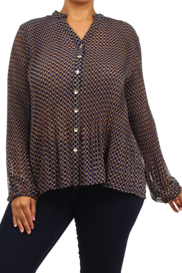 Printed Buttom Top Plus Size