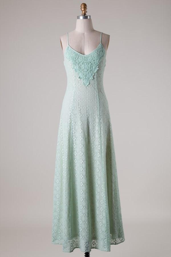 Lace Mint Maxi Dress