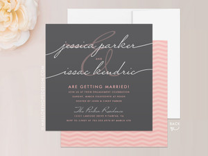 Handwriting Simplicity Engagement Party Invitation
