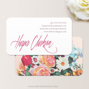 Signature Script Floral Business Card