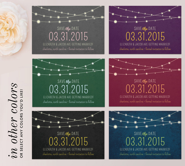 Twinkle Lights Save the Date Color Suggestions