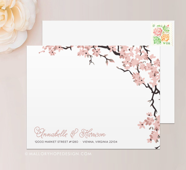 Cherry Blossoms Stationery or Thank You Card