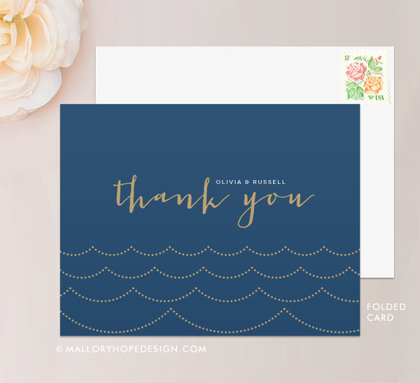Ocean Wave Stationery or Thank You Card Folded