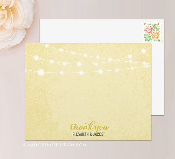 Twinkle Lights Stationery or Thank You Card  (flat)