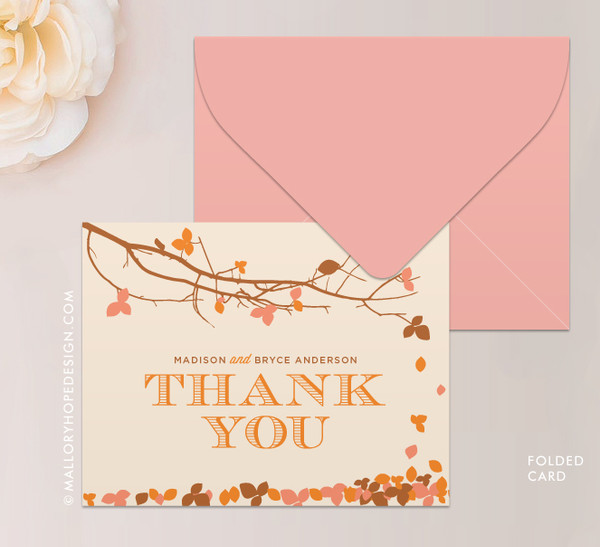 Fall Leaves Stationery or Thank You Card (folded)