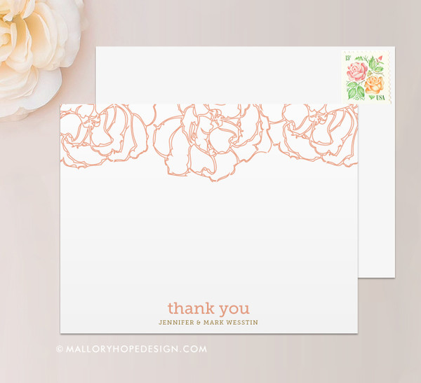 Pretty Peony Thank You Card (flat)