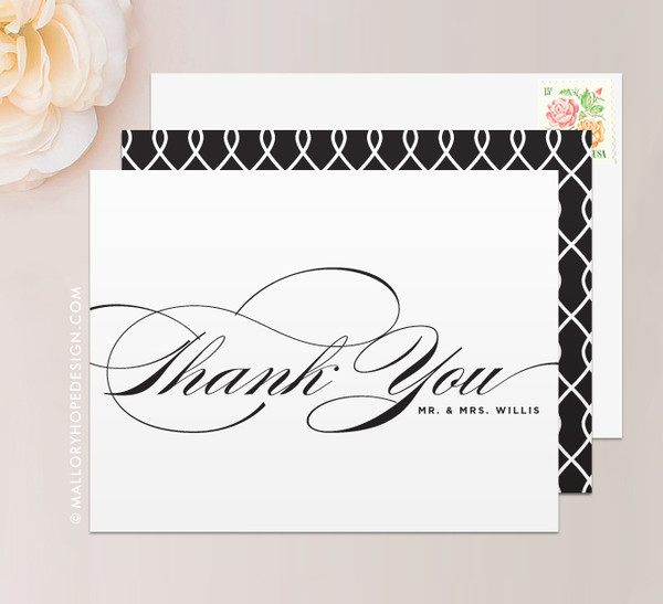 Sophisticated Script Thank You Card