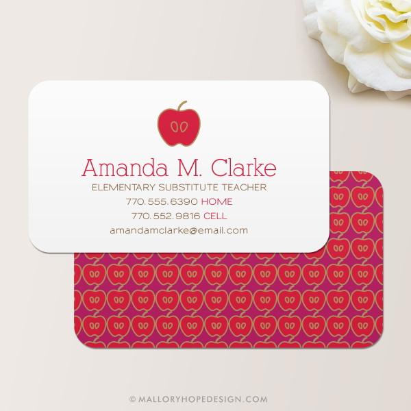 Teacher business card mallory hope design teacher business card colourmoves
