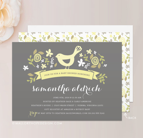 Little Bird Baby Shower Invitation