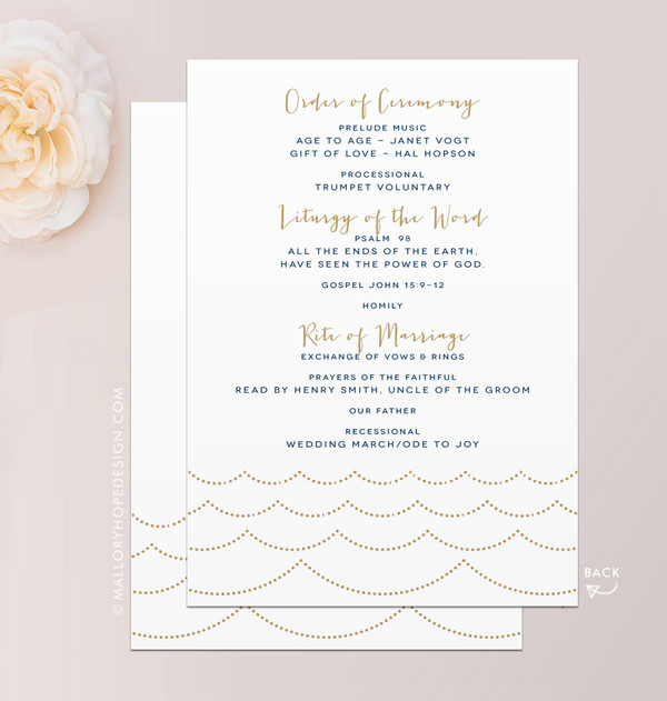 Ocean Wave Wedding Program A7 Flat Card Back