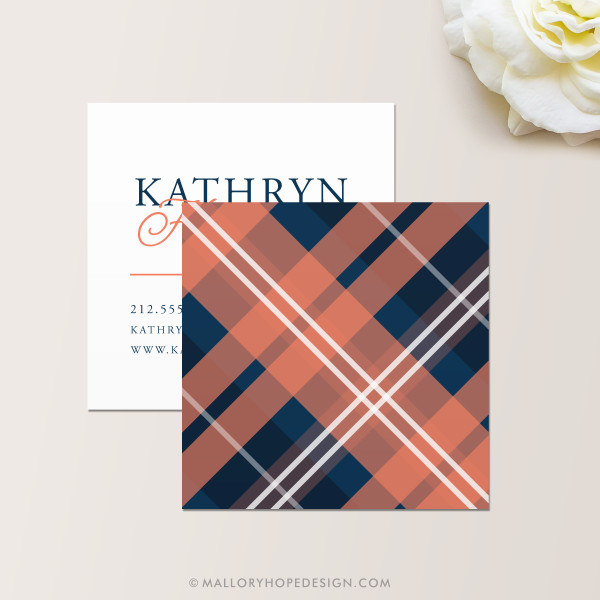 Plaid Square Business Card Back in Navy and Coral