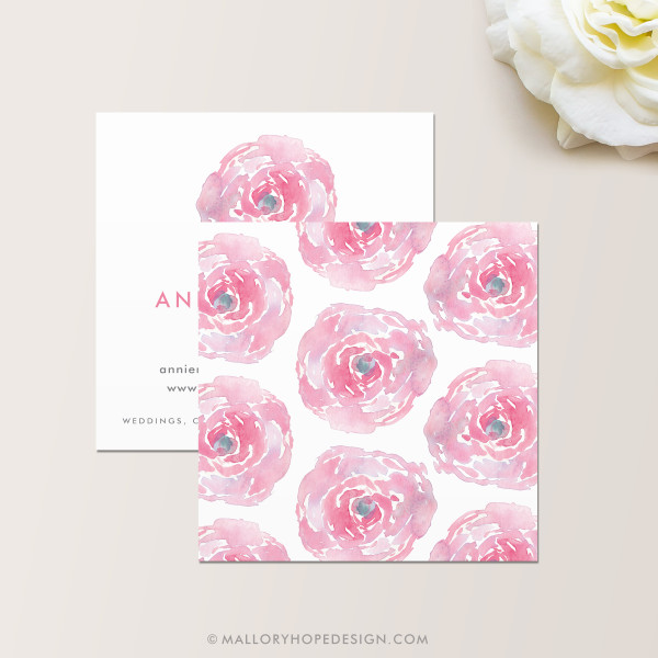Watercolor Square Business Card Back