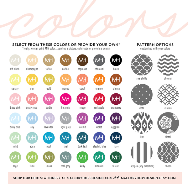 Mallory Hope Design Colors & Pattern Options