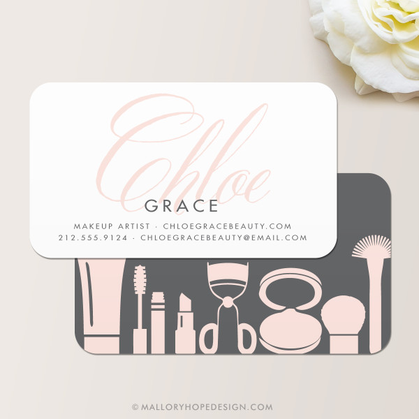 Grace makeup artist business card mallory hope design grace makeup artist or cosmetologist business card in charcoal and blush colourmoves