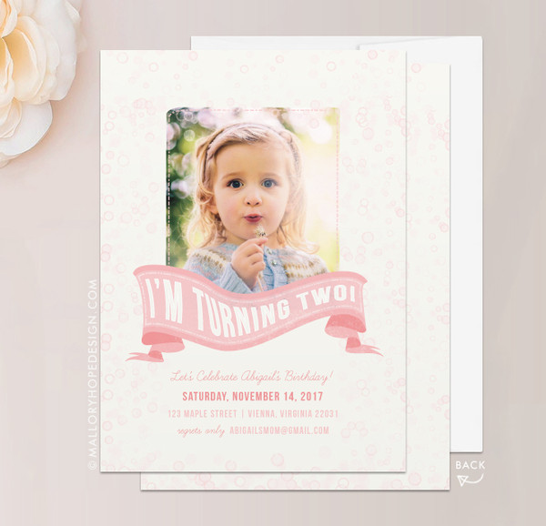 Bubbles Photo Birthday Invitation