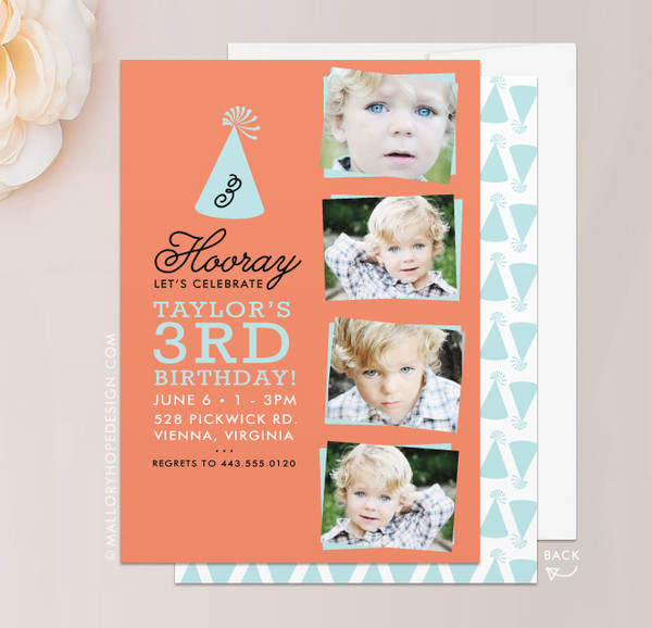Party Hat Birthday Invitation in Coral