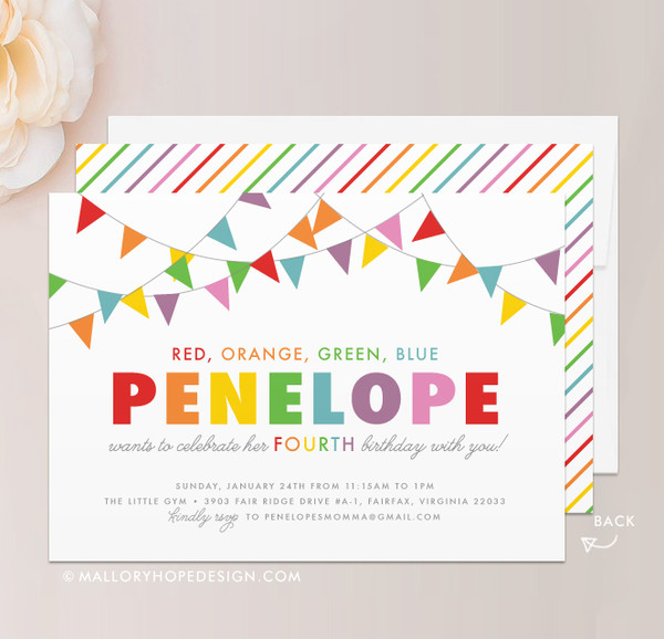Rainbow Birthday Invitation Mallory Hope Design