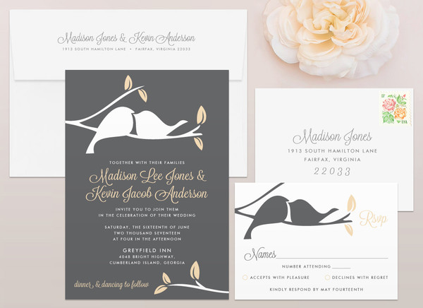 Exceptionnel Love Birds Wedding Invitation ...