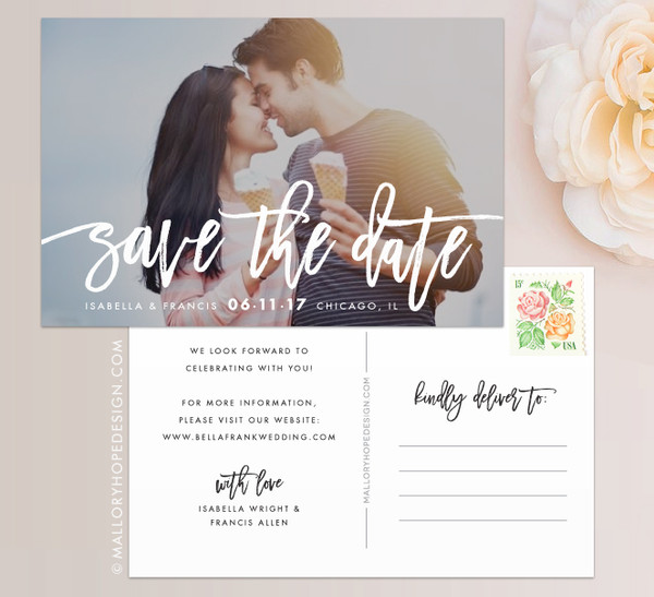 Handwritten Photo Save the Date - available as a Save the Date Postcard, Save the Date Magnet, or Save the Date Flat Card with Envelope