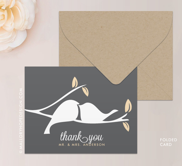 Love Birds Notecard or Thank You Card Folded