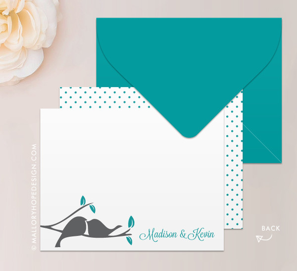 Love Birds Notecard or Thank You Card in Teal