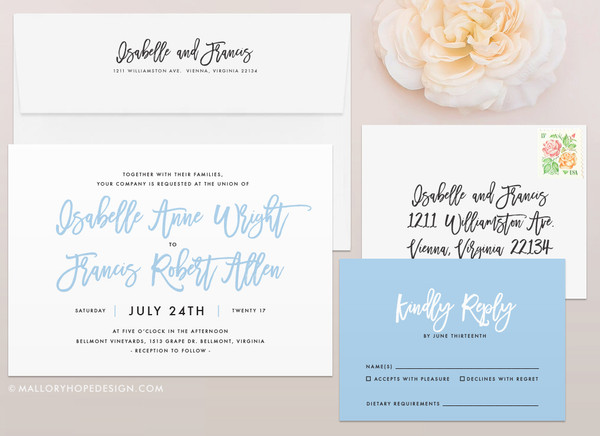 Handwritten Wedding Invitation Mallory Hope Design
