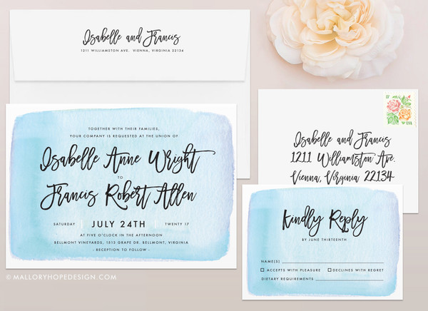 Handwritten Wedding Invitation Set in Watercolor Background