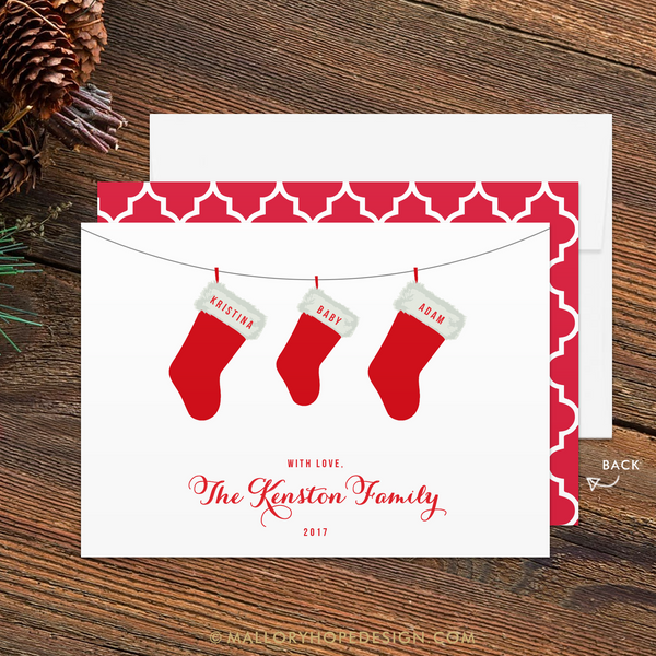 Stockings Baby Announcement Holiday Card