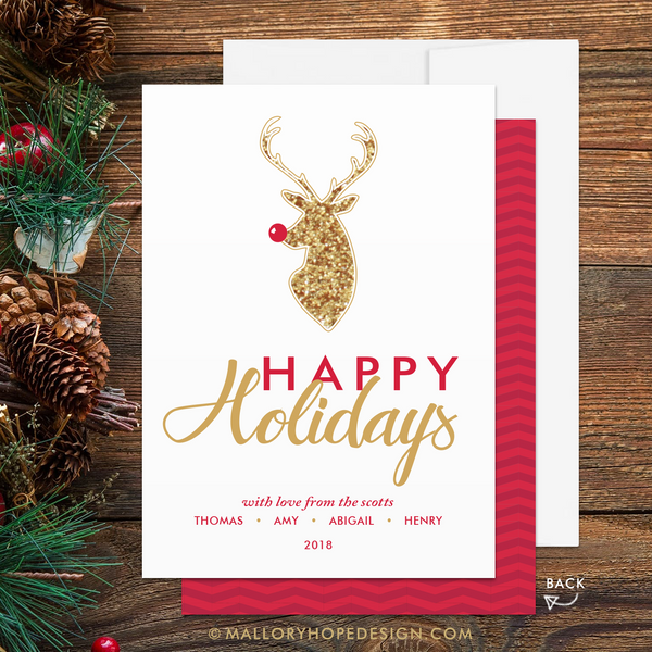 Rudolph Holiday Card (Fake Glitter) - Happy Holidays