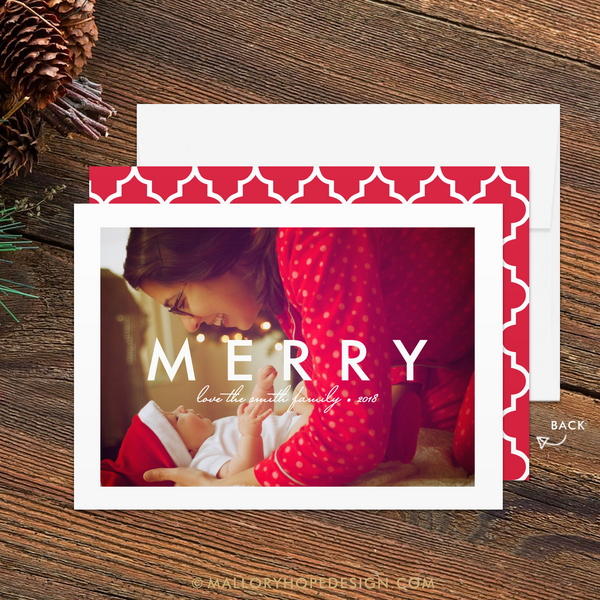 Minimal Merry Photo Christmas Card