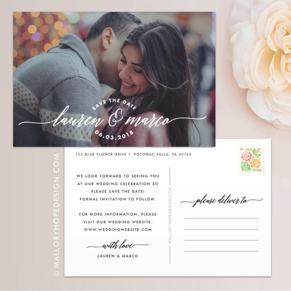 Lettering Photo Save the Date