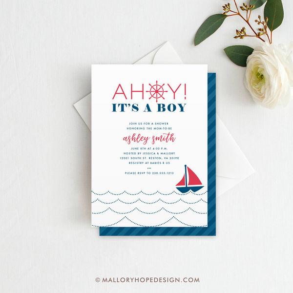 Ahoy It's a Boy Baby Shower Invitation - Red and Blue