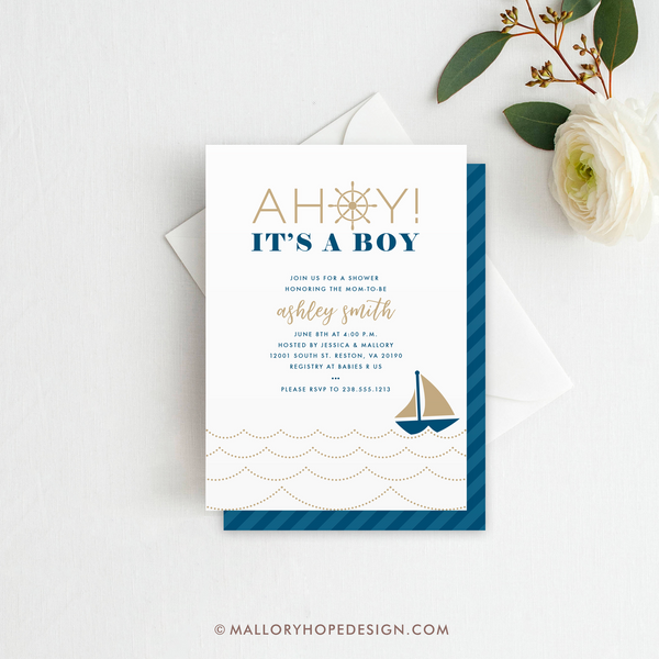 Ahoy It's a Boy Baby Shower Invitation - Toffee