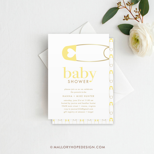Diaper pin baby shower invitation mallory hope design diaper pin baby shower invitation yellow stopboris Gallery