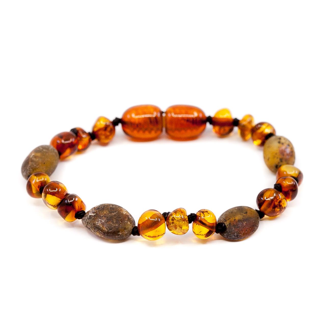Mixed beads dark cherry + swamp honey amber teething & colic anklet ...