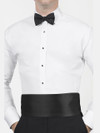 white wing collar shirt with black bow tie for tuxedo rental budget tux