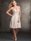 Plunging V-Lace Bodice Allure Bridesmaids Short Dress 1424