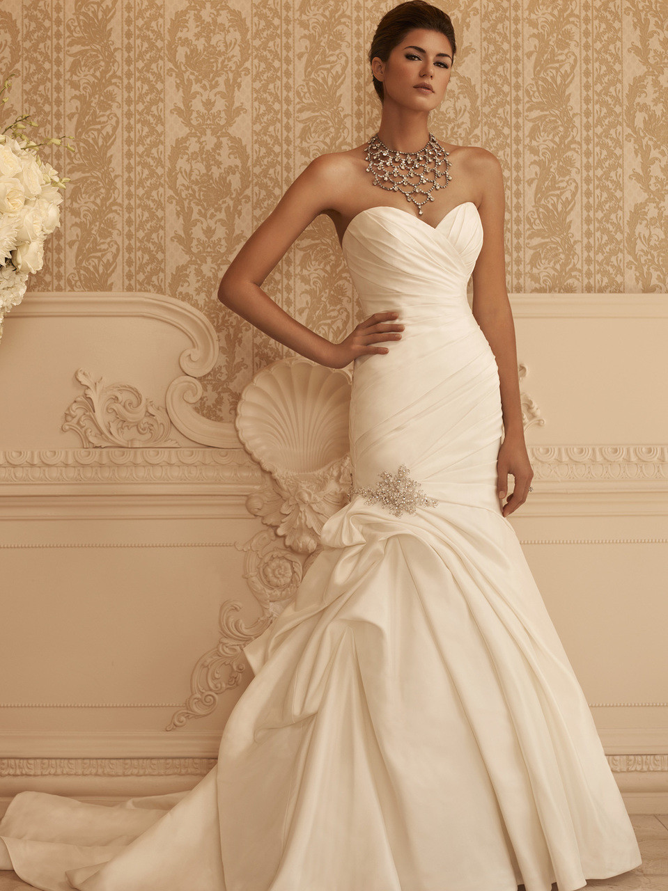 Sweetheart Ruched Satin Bridal Gown Casablanca 2106 - Dimitra Designs