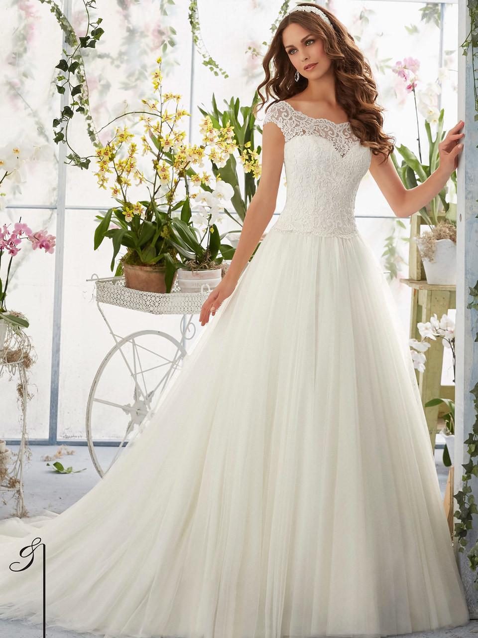 Morilee Blu 5403 Cap Sleeves Wedding Dress - Dimitra Designs