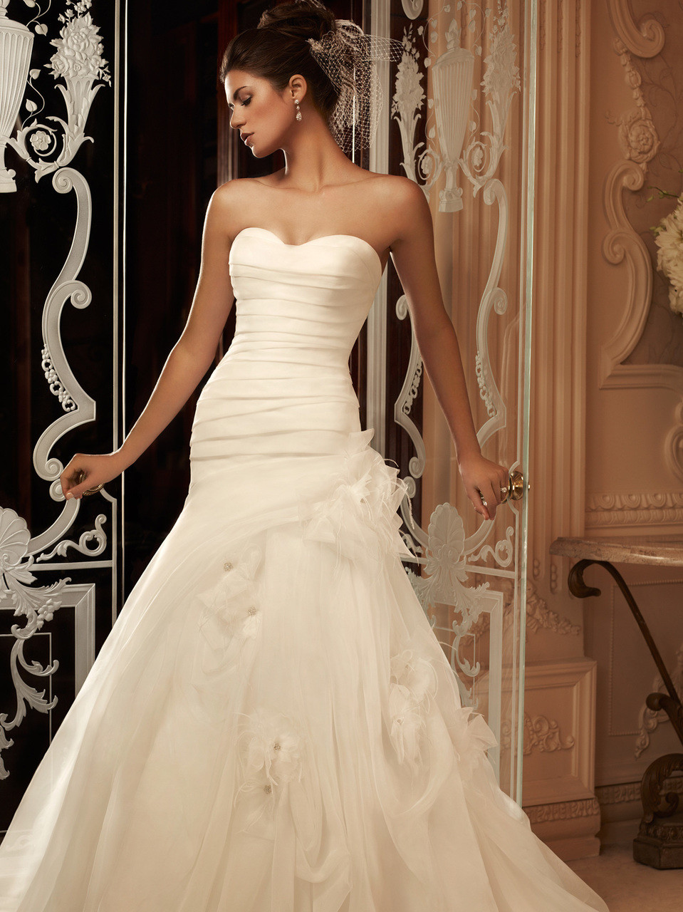 Sweetheart Pleated Organza Bridal Gown Casablanca 2105 - Dimitra Designs
