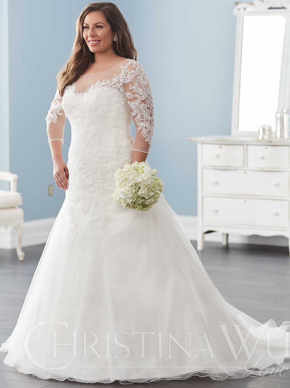 Christina Wu Plus Size 29282 Illusion Scoop Neckline Bridal Dress ...